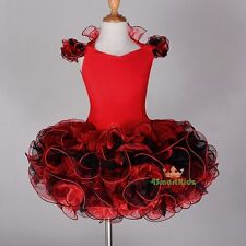 Cupcake Pageant Dress up Shell Party Dance Costume Black Red Girl Size 4 Pt002