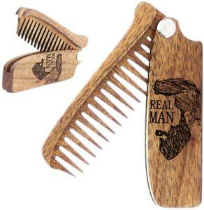 Men's Wooden Folding Comb, Great for Hair, Beard & Moustache, Pocket size