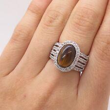 J. Esposito 925 Sterling Silver Real Tiger Eye Gemstone C Z Ring Size 6