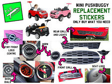 Kids MINI COOPER PUSHBUGGY replacement stickers horn dash dials logo grills push
