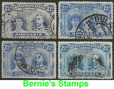 Rhodesia 1910 2.1/2d Ultra, Br Ultra, Dull Blue, Chalky Blue sg 131,a,2,3 Used