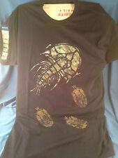 Navy Blue T-Shirt Fish Marine Life Adult L 100% cotton Fossil Trilobite Dinosaur