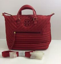 Tory Burch Ella Bag Nylon Satchel Purse Red Medium