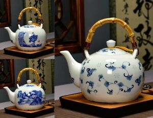 Chinese Style Ceramic Teapot Blue And White Porcelain Glass Tea Pot With Filter