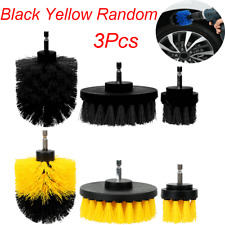 3XRound Electric Bristle Drill Brush Kit Rotary Cleaning Tool Attachment Yellow
