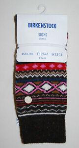 NWT Birkenstock Womens Dark Brown Fashion Ethno Casual Knit Crew Socks sz L 8-10
