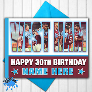 West Ham United Personalised Birthday Card Any Name/Relative/Age 30th 40th 50th