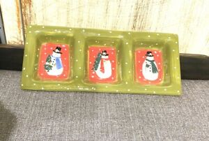Everyday Gibson Christmas Snowman Holiday Relish Nuts Candy Green Tray Dish