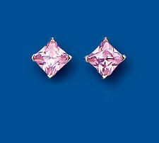 Pink Cubic Zirconia Stud Fine Earrings