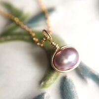 Dainty Lavender Pearl Necklace, Sterling Silver 14k Gold/Rose Gold, Tiny Simple