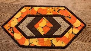"""Handmade Quilted Table Runner Fall Pumpkins 9 X 17"""""""