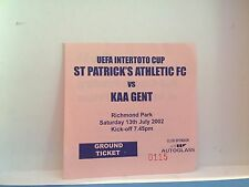Football Ticket - St Patricks athletic FC VS Kaa Gent La Gantoise - 2002 UEFA