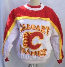 Vtg 1989 Calgary Flames Softwear Athletics NHL Pullover Jacket Small