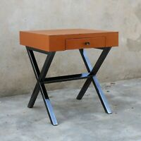 Tan Color Genuine Leather Knockdown Side Table