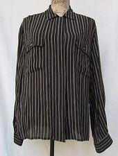 Jones New York Women's Shirt/Blouse Black & Bone Pin Stripe 100% Rayon Size 16