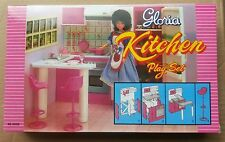 GLORIA DOLLHOUSE FURNITURE SZ KITCHEN w/Island + TV w/Stand PLAYSET FOR BARBIE