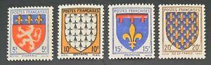 France 1943 Série Armoiries provinces (I) n° 572 à 575, NEUFS** LUXE Cote=5,50€