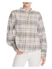 REBECCA TAYLOR Womens Black Check Long Sleeve Button Up Top Size: L