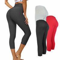 Womens 3/4 Capri Yoga Pants Gym Fitness Sports Cropped Anti-Cellulite Leggings