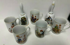 Norman Rockwell Museum Collection 1982 5 Coffee Mugs Cups Gold Trim & 2 Bells