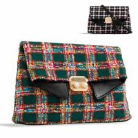 Ladies Designer Knitted Tartan Clutch Bag Tweed Clasp Evening Bag Handbag KK2357