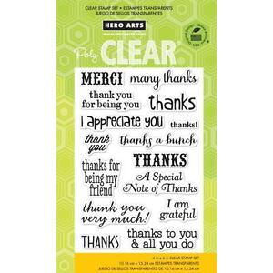 Hero Arts THANKS A BUNCH  CL663 Clear Cling  Set of 15 Merci & I Appreciate You