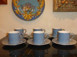 DANSK TAPESTRIES JACQUARD JACK LENOR LARSEN BLUE AND GRAY CUPS & SAUCERS