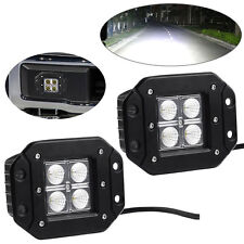 2X 20W 4inch Flood LED Work Light Flush Mount Driving Offroad SUV 4WD Truck Boat