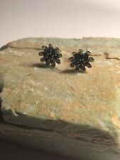 Round Cut Black Spinel Gemstone SSilver PLATED Stud Earring-E365