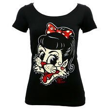 LUCKY 13 Miss Alley Cat Girl Juniors Scoop Neck T-Shirt L NEW