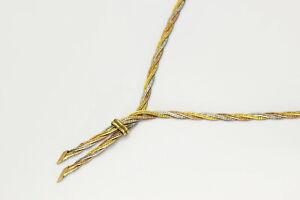 Tricolor Halskette Gold-Collier 14 Karat Schmuck 585 Weißgold Gelbgold Rotgold