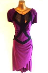 Joseph Ribkoff UK16 Dress in Mulberry & black sheer panels high/low hem  (3526