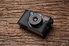 Caso de cámara de Cuero Genuino Real Medio Bolso Cubierta para FUJIFILM X100F Negro