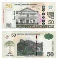 UNC SURINAME $50 Dollars (2010) P-165a Banknotes Paper Money