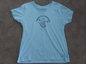 Womens Life Is Good New Without Tags Cotton V Neck T Shirt. Light Mint Green