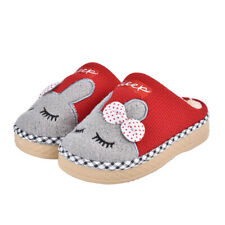 Boys Girls Cute Bunny Fur Lined Slippers Winter Warm Home Indoor Bedroom Shoes