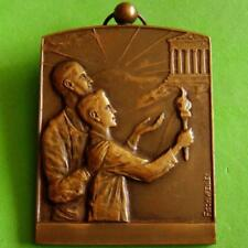 L@@k Art Deco Olympic Flame Torch Athens Parthenon Bronze Medal by FISCHWEILER!