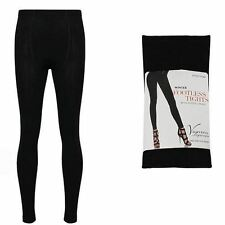 ** LADIES BLACK WINTER WARMING FOOTLESS TIGHTS WITH FLEECE LINING NEW ** O/S