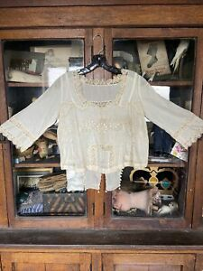 antique white cotton victorian blouse 1900's lace embroidered Sheer Women's