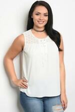 NEW..Lovely Plus Size Off White Sleeveless Lace Up Front Top.Sz16/XL