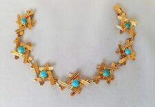 Vintage 18K Handcrafted Solid Yellow Gold Turquoise Bracelet