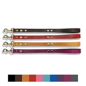 "Quality UK Dog Lead Decorated Leather Dog Lead Mastiff - Bull Terrier Lead 20"""