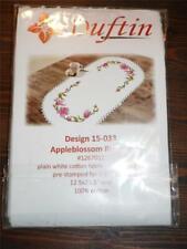 """New ListingDuftin Stamped Cross stitch Kit - Appleblossom Runner - 12.5"""" x 28.5"""" Oval"""