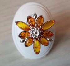 Genuine Baltic Amber Ring 925 sterling silver size P