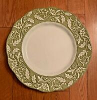 "J & G MEAKIN ENGLAND IRONSTONE STERLING RENAISSANCE GREEN DINNER PLATES 10"" IN"