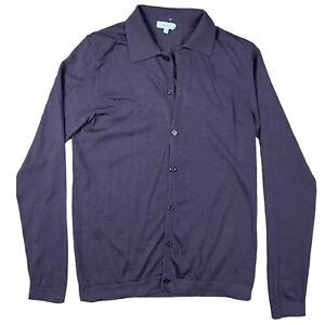 Reiss Men's Cardigan Button Up Size Medium Purple Polo Neck Button Up