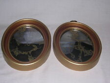"VTG Shabby Chic Oval Mirrors with Splatters of Gold 8"" x 6"", Free Shipping"