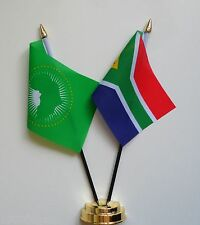 African Union & South Africa Double Friendship Table Flag Set