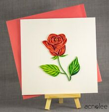 Quilling Cards - 3D Handmade Love Card Blank Quilled Rose