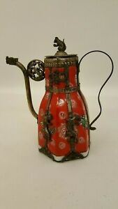 """VINTAGE ANTIQUE CHINESE RED CRUET WITH SILVER DRAGON SPOUT MOUSE + CHEESE 5.75"""""""